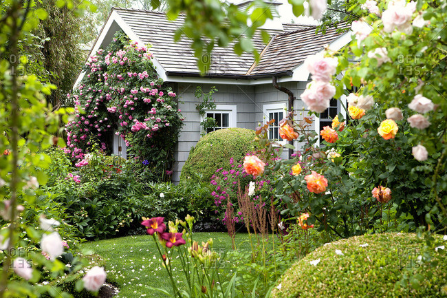 Cottage set in English style garden