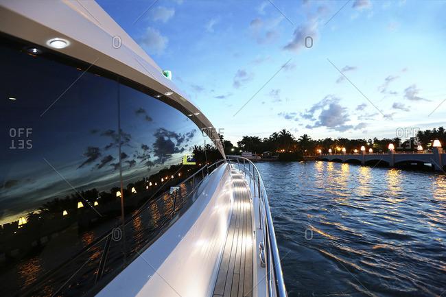 Luxury yacht heading into dock