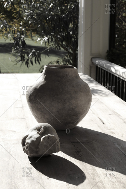 Decorative sculpture on outdoor table