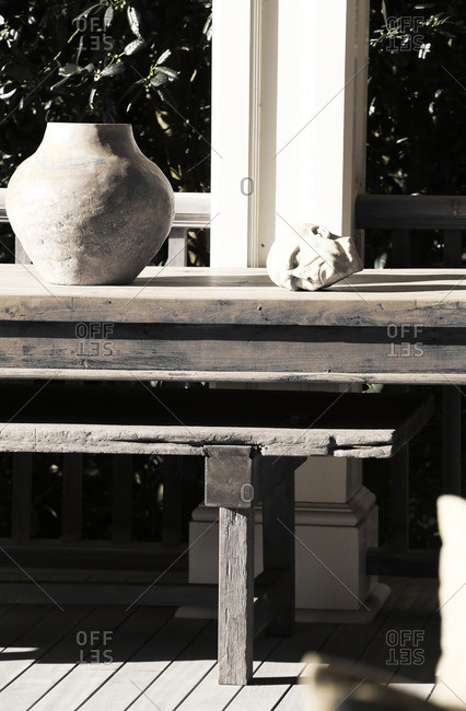 Decorative sculptures on outdoor table