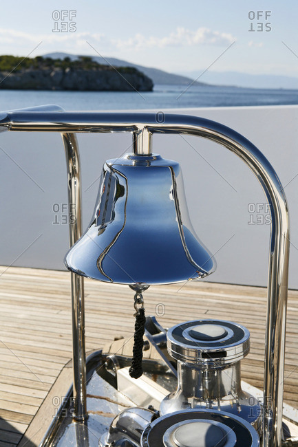 Bell on deck of yacht