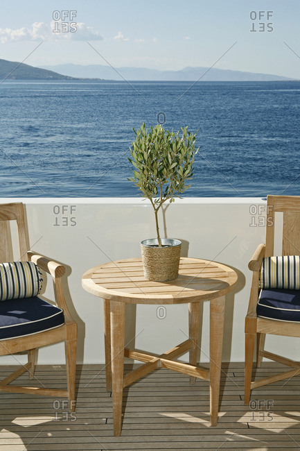 Outdoor seating on deck of yacht
