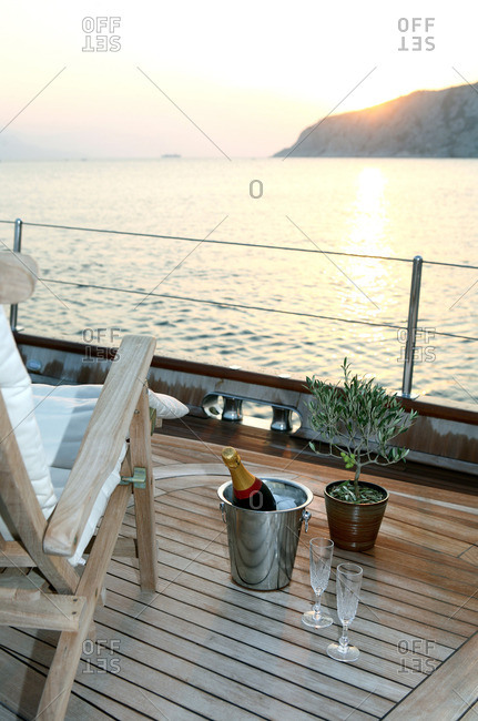 Deck of luxury yacht