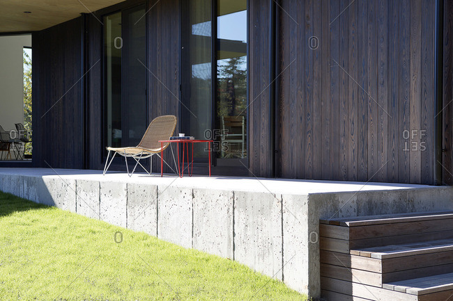 Seating on porch of modern house