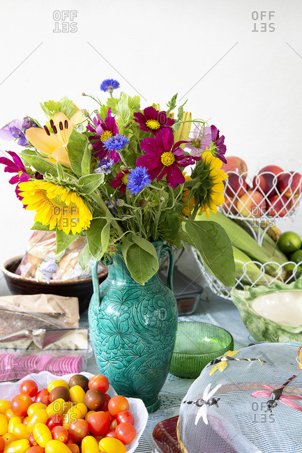 Still life of bouquet of colorful flowers in vase