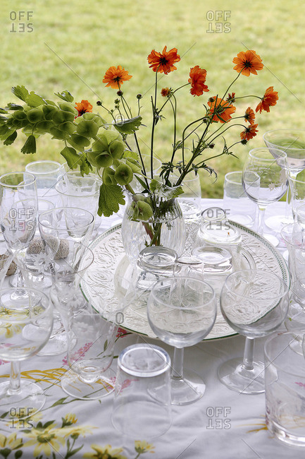 Still life of glassware and flowers on outdoor table