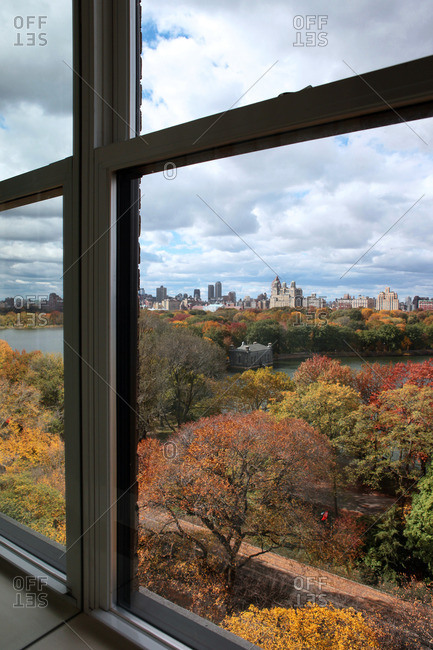 View from window overlooking Central Park, New York in Autumn