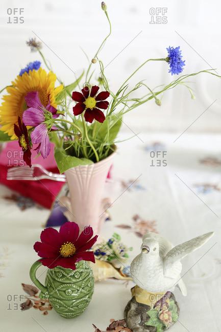Still life of wildflowers in vase
