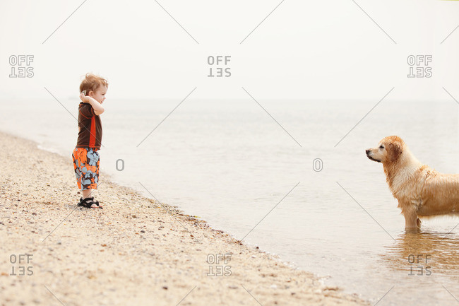 Toddler boy throwing stone into the ocean by dog