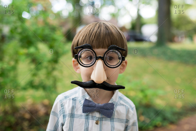 Little boy wearing Groucho mask