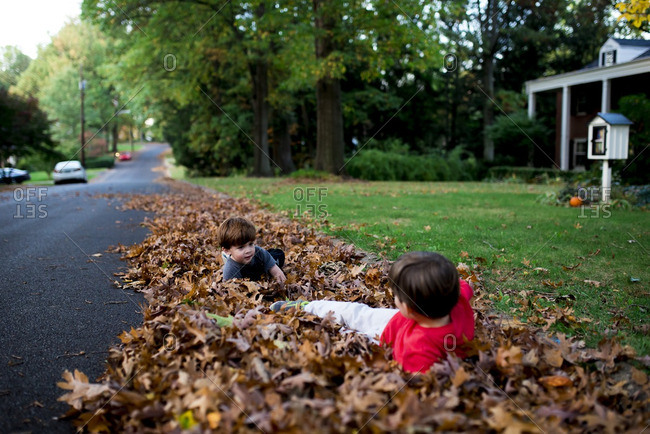 Siblings playing in a pile of leaves
