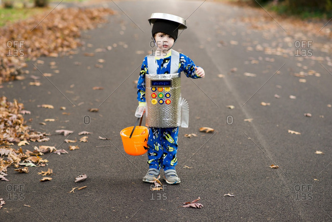 Little boy dressed as a robot for Halloween