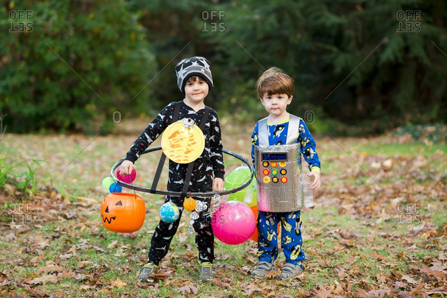 Two brothers dressed up for Halloween
