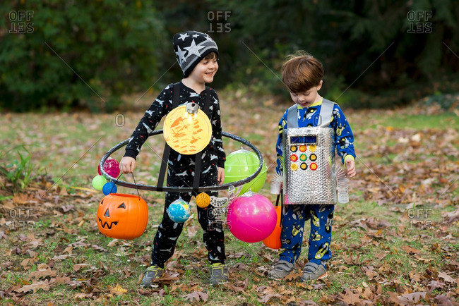 Two boys dressed up for Halloween