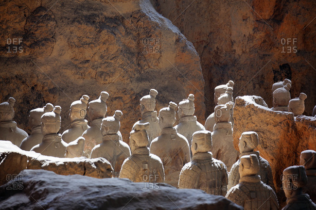Xi'an, China - March 26, 2016: Sunlight on warrior statues of the Terracotta Army