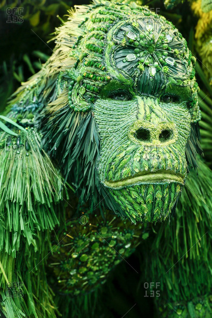 New York City, United States - December 6, 2016: Green gorilla in a store window display