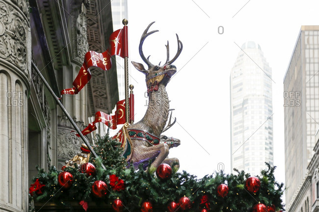 Reindeer and evergreen bough Christmas decorations in New York City