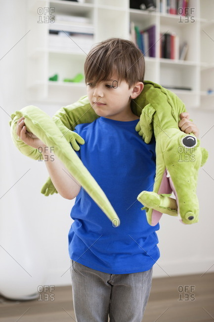 Boy playing with animals toys