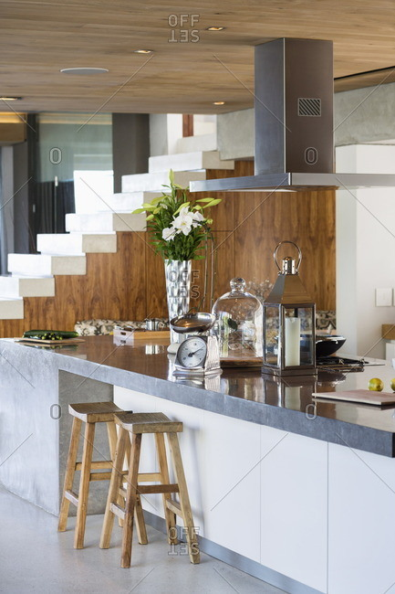 Interiors of a kitchen counter in a studio apartment