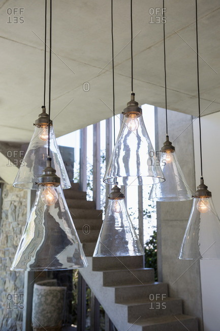 Electric lamps lit up at home