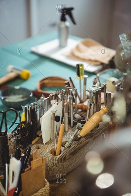 Various work tool on table in workshop