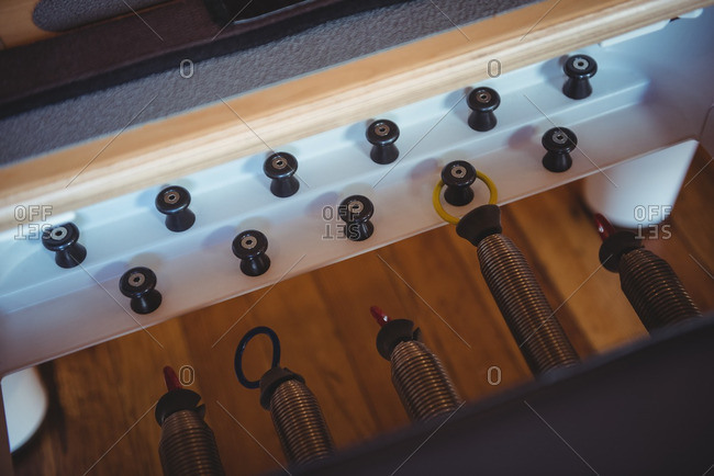 Close-up of reformer in fitness studio