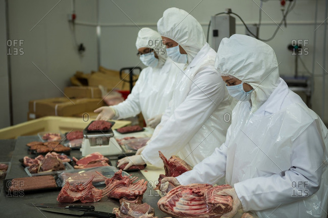Butchers cleaning raw meat at meat factory