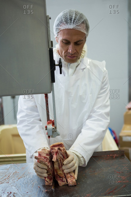 Butcher cutting meat with meat cutting machine at meat factory