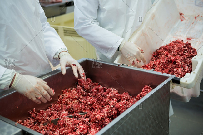 Butchers emptying tray with minced meat at meat factory