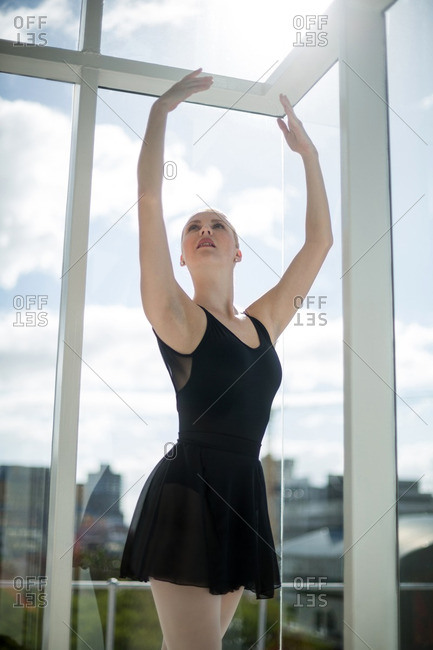 Ballerina practicing ballet dance in the studio
