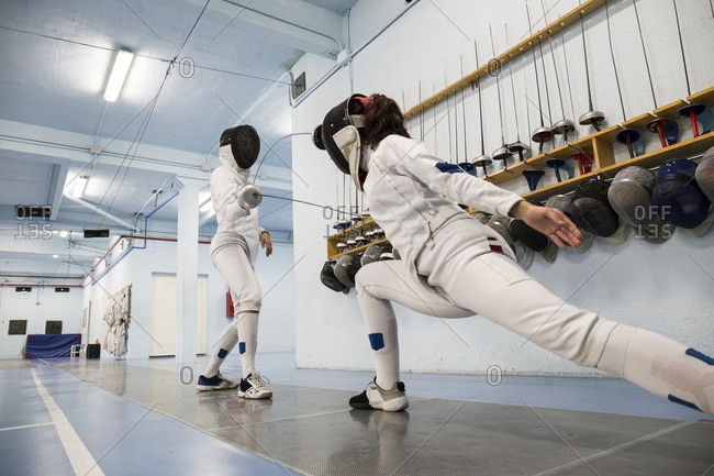 Female fencers during a fencing match