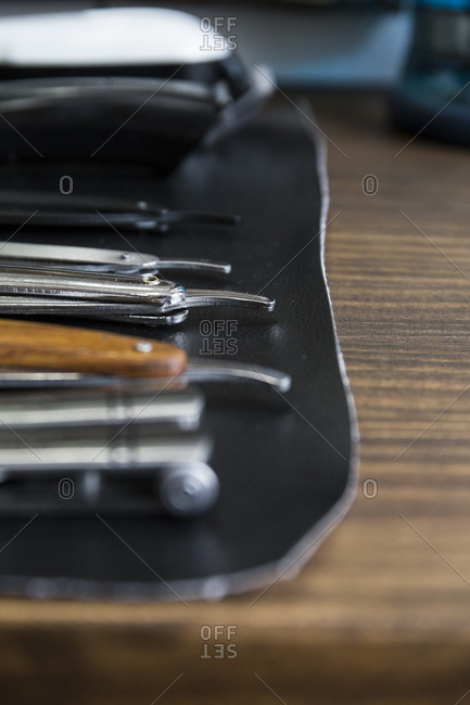 Barber tools in a barbershop