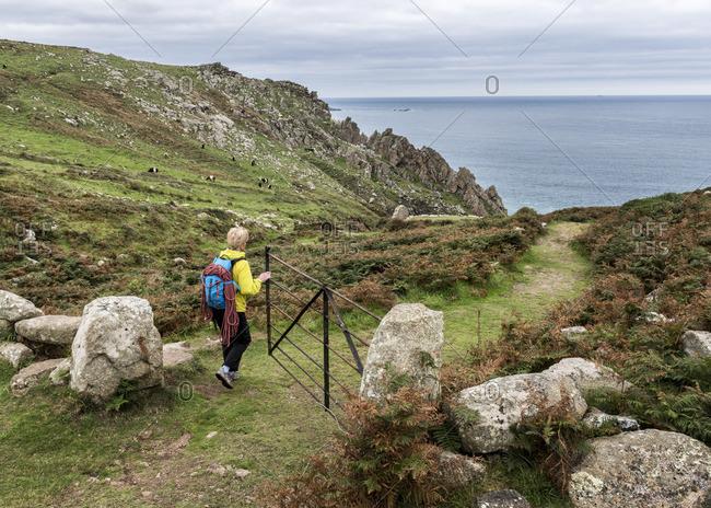 Woman at Commando Ridge climbing route
