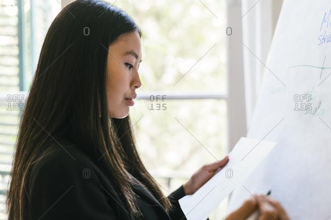 Young businesswoman preparing presentation- writing on flipchart