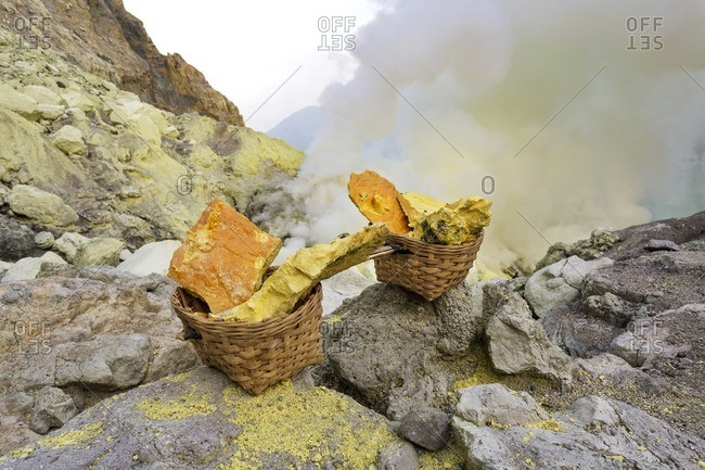 Sulfur mining in Ijen Crater