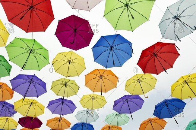 Colorful umbrellas at Kota Metro Station