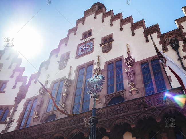 Facade of city hall 'Roemer' at backlight