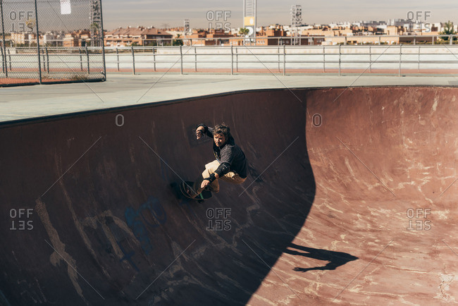Man skateboarding in a skatepark