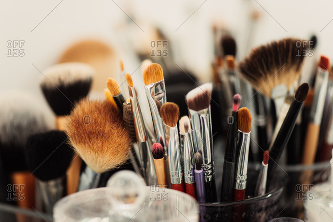 Various makeup brushes in close up