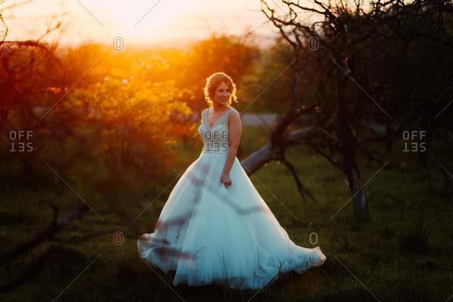 Bride smiling in a sun dappled field