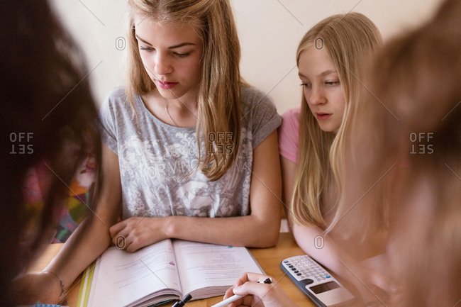 Teenage girls studying together at home