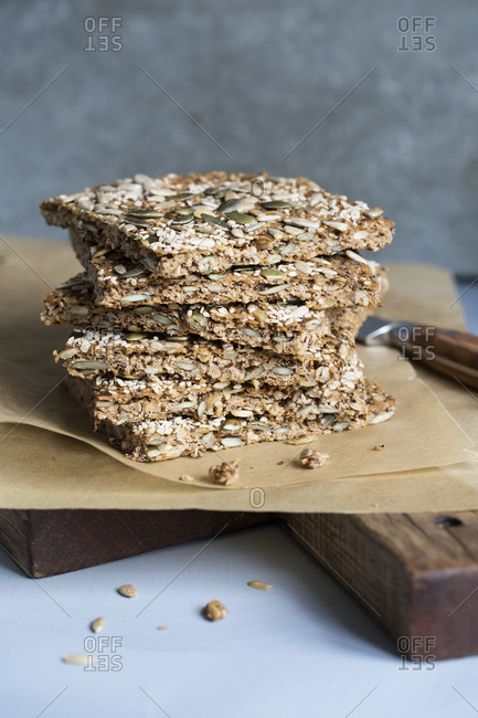Wholegrain protein bars on cutting board