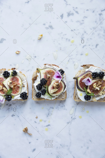 Directly above shot of open faced sandwiches with various fruits