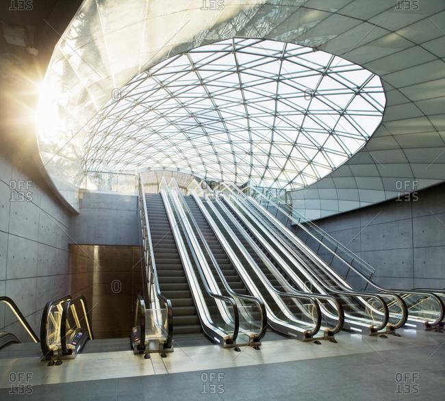 Malmo, Sweden - December 21, 2016: Escalators in Triangeln station