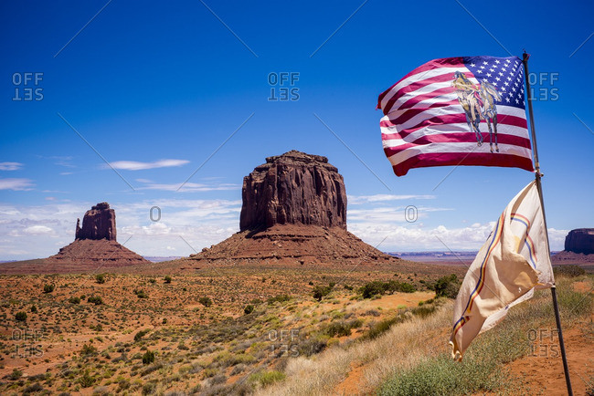 American flag and Navajo flag at Monument Valley
