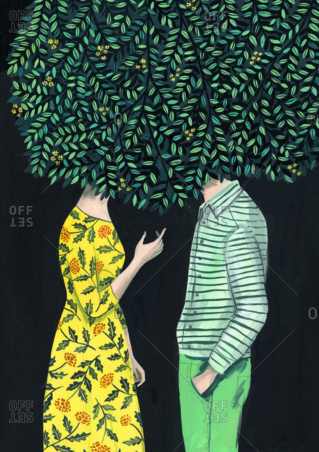 Man and woman with their heads hidden under a tree