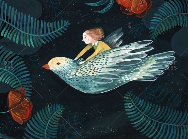 Little girl flying on a bird