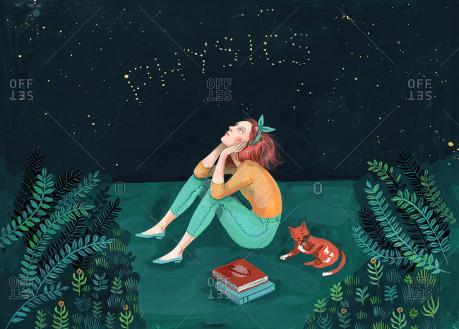 Young girl looking at the stars