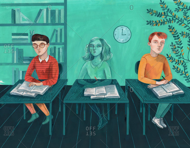 Invisible girl sitting between two boys in a classroom