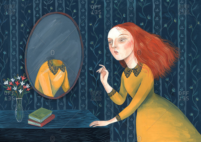 Girl looking at her missing reflection on a mirror